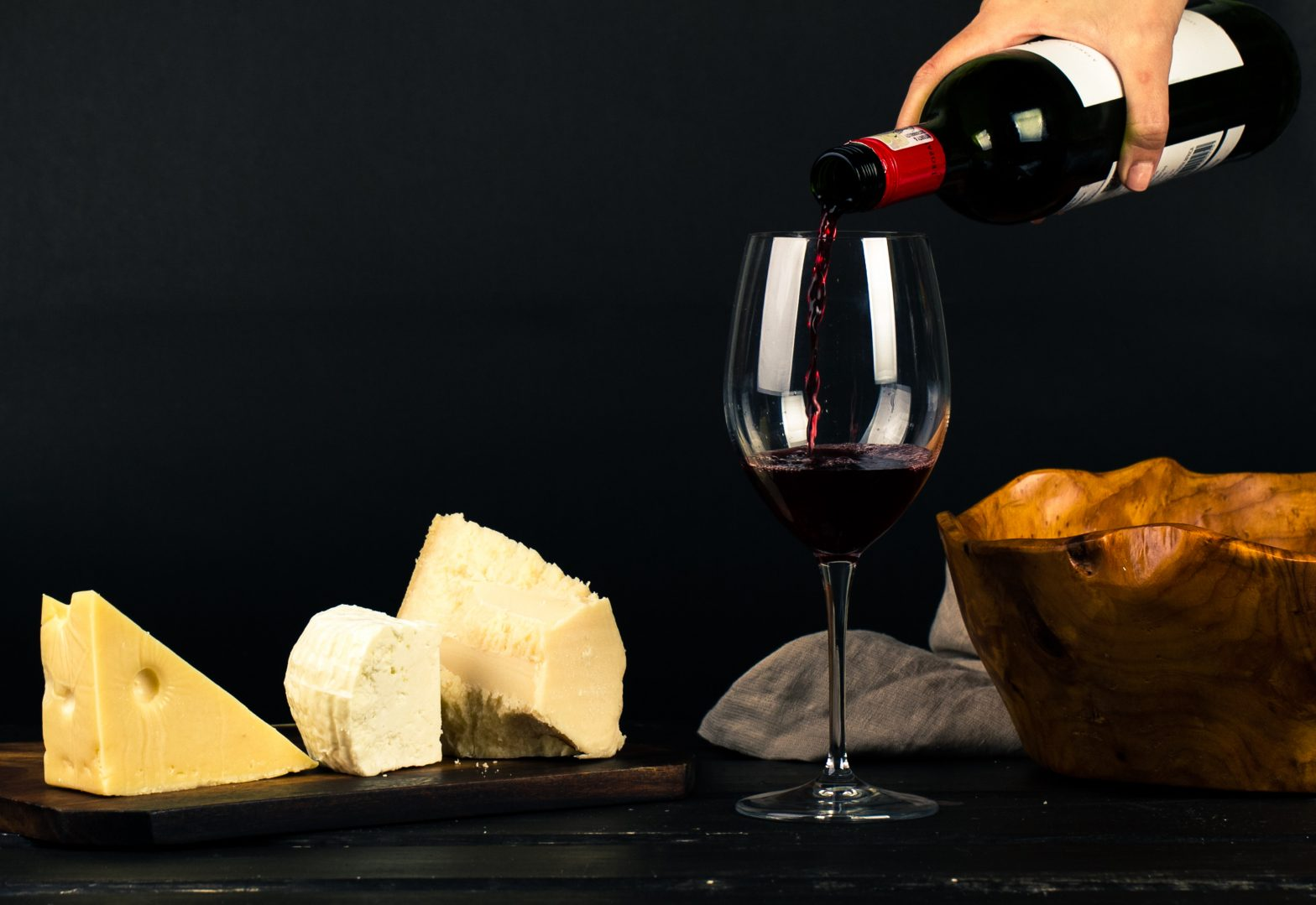 wine and cheese Photo by Ray Piedra from Pexels