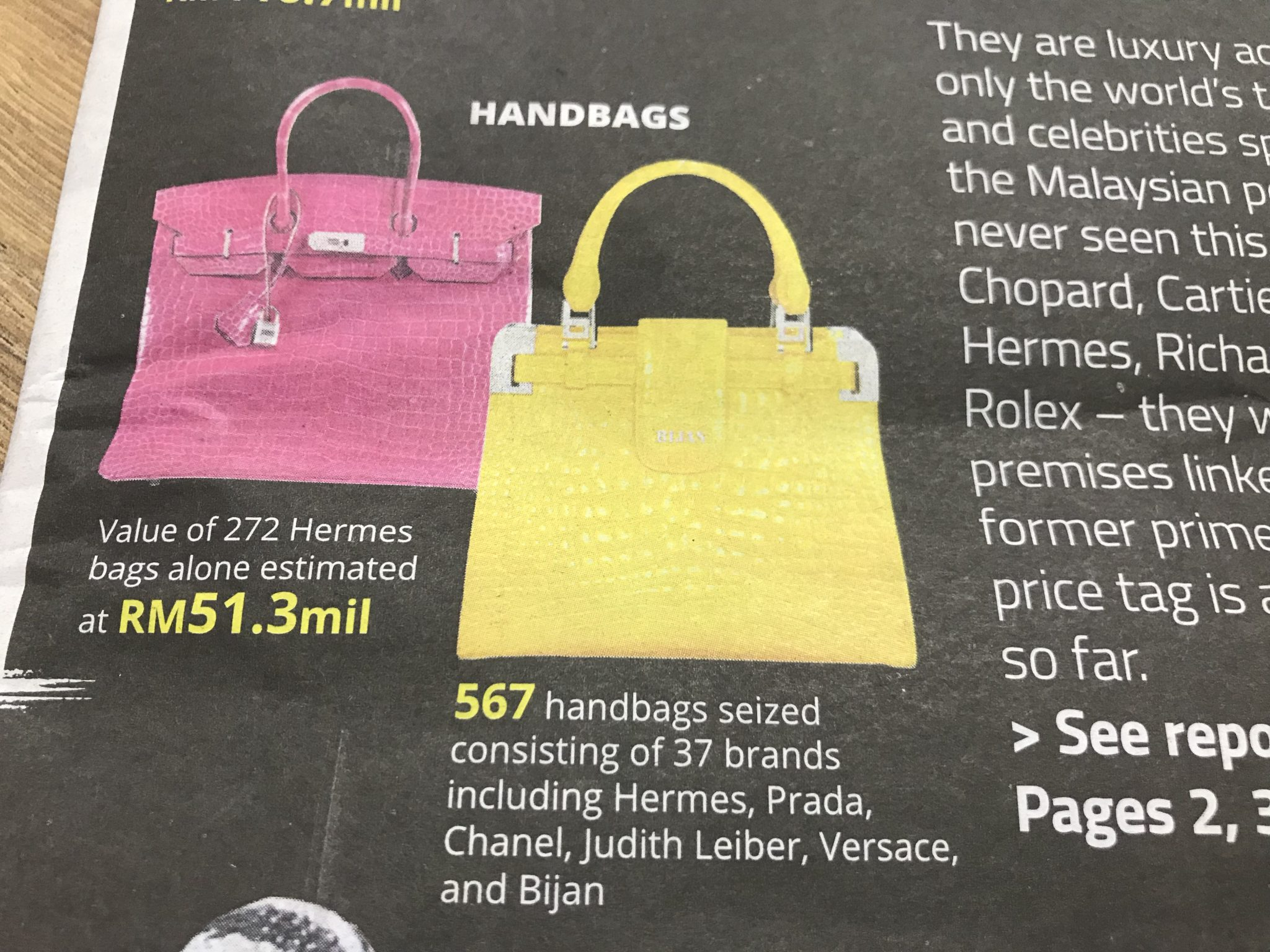 c5e0203389 But Hermes bags are cheap compared with Bijan bags (the yellow one on the  right in this picture)